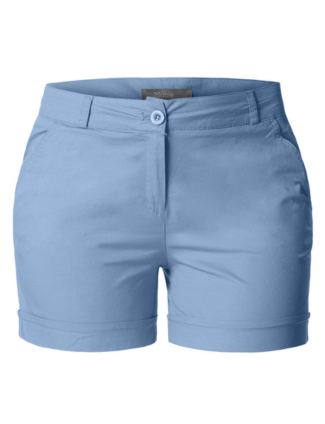 Womens Plus Size Casual Cotton Chino Shorts with Pockets (WB3490)