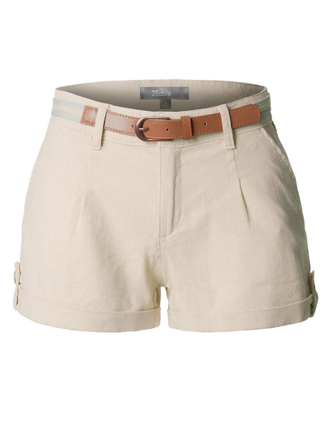 Womens Casual Summer Linen Shorts with Removable Belt (WB3515)