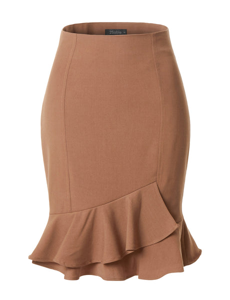 Womens Fitted High Waisted Ruffle Pencil Office Midi Skirt with Stretch (WB3585)