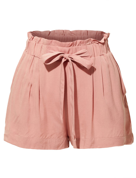 Womens Stretchy High Waisted Paperbag Solid Short Pants (WB3896)