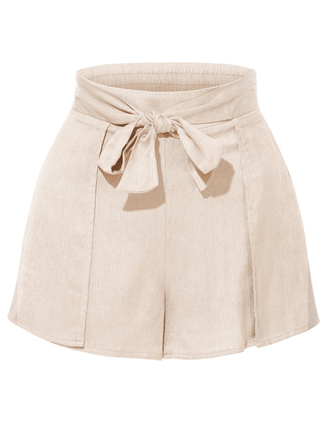 Womens Stretchy High Waisted Tie Belt Pleated Summer Shorts (WB3903)
