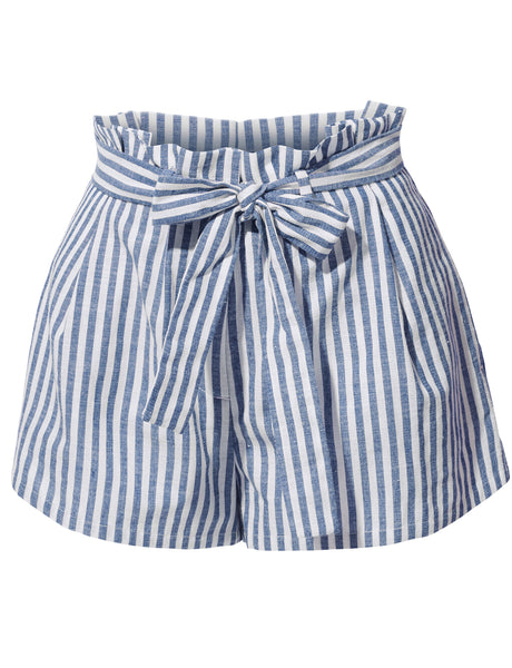 Womens Casual Linen High Waisted Striped Short Pants with Belt (WB3909)