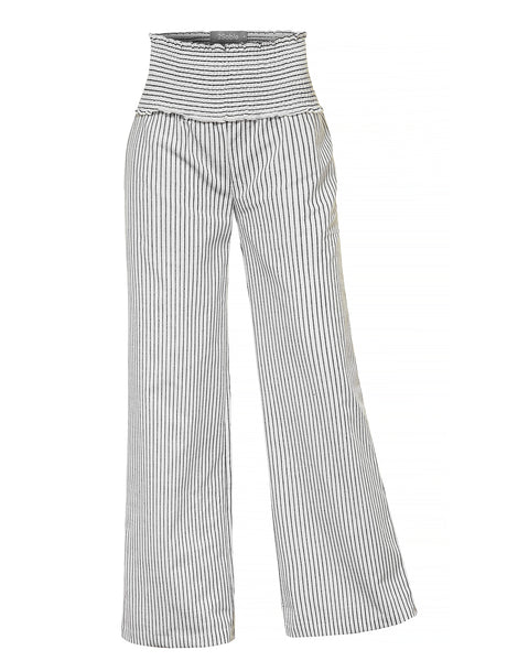 Womens Loose High Waisted Wide Leg Elastic Waist Striped Pants (WB4148)