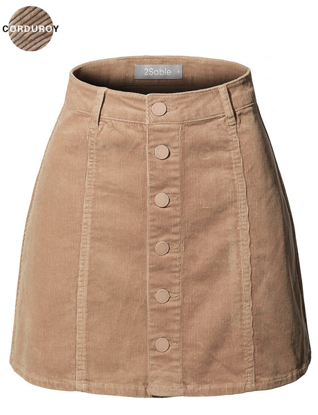 Womens Classic High Waisted Corduroy Button Up A-Line Mini Skirt (WB4175)