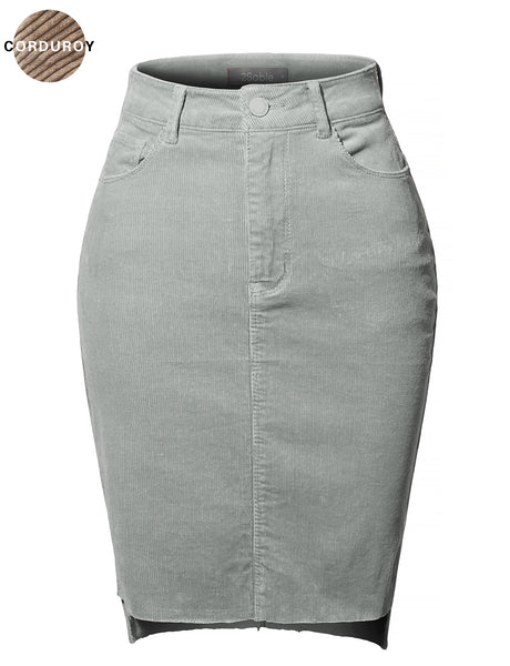 Womens Classic High Waisted Frayed Hem Fitted Corduroy Midi Skirt (WB4185)
