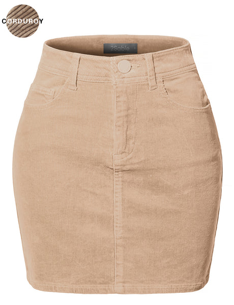Womens Plus Size Casual High Waisted Slim Fit Corduroy Mini Skirt (WB4186P)