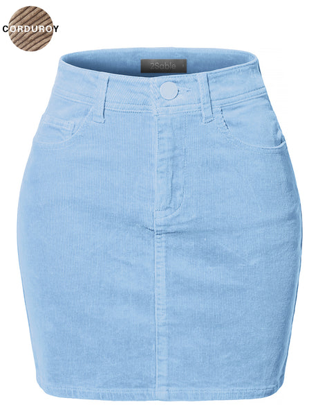 Womens Casual High Waisted Slim Fit Corduroy Mini Skirt (WB4186)