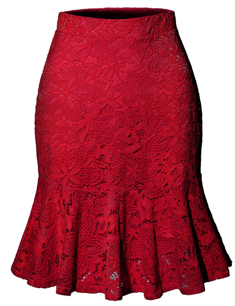 Womens High Waisted Floral Lace Flowy Ruffle A Line Midi Skirt (WB4214)