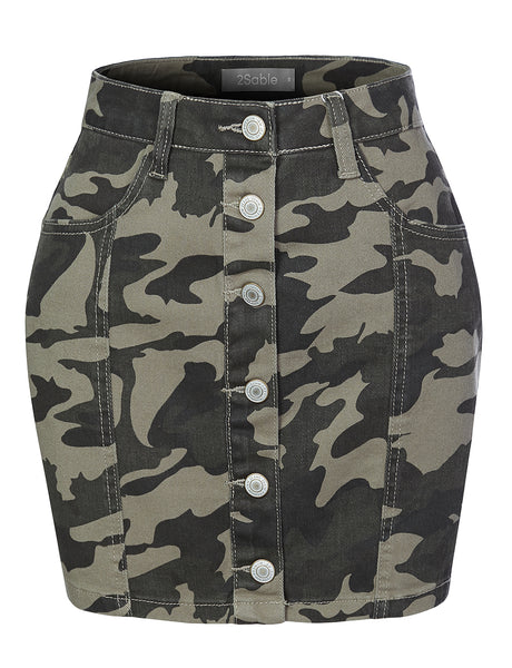 Womens Camo Print High Waisted Button Up A-Line Denim Mini Skirt (WB4255)