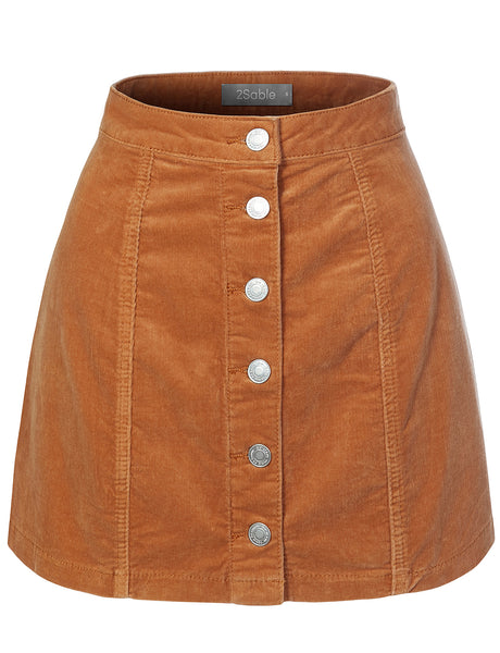 Womens Classic High Waisted Stretchy Corduroy Button Up A-Line Mini Skirt (WB4256)