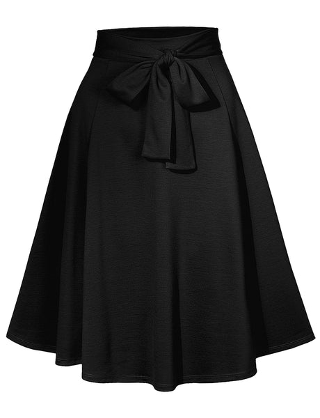 Womens High Waisted Flared Knee Length Self Tie Belt A Line Midi Skirt (WB4295)
