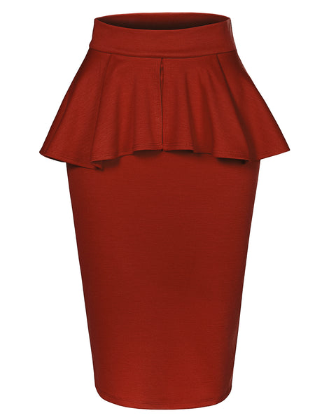 Womens Slim Fit Work Office High Waisted Ruffle Pencil Midi Skirt with Stretch (WB4299)