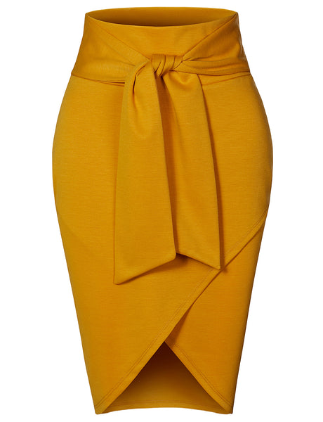 Womens Asymmetrical High Waisted Self Tie Casual Formal Pencil Midi Skirt (WB4315)