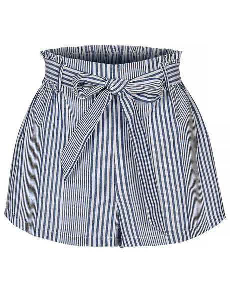 Womens Casual Elastic Waist Striped Summer Walking Shorts with Self Tie Belt (WB4325)