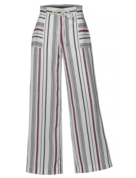 Womens Casual Multicolor Striped Wide Leg Palazzo Pants with Braided Tie Belt (WB4326)