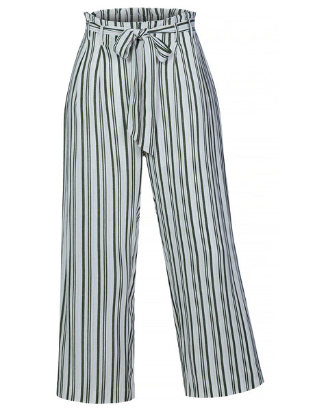 Womens Casual Crinkled High Waist Striped Cropped Pants with Self Tie Belt (WB4327)
