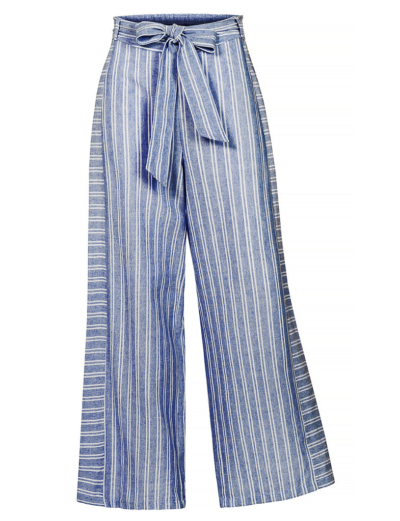efd3d3638f Womens Casual Striped High Waist Wide Leg Pants with Self Tie Belt (WB |  2Sable