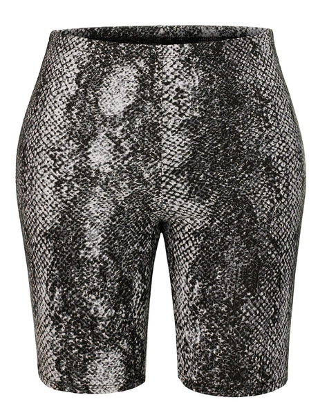Womens High Waist Animal Snake Skin Print Stretchy Cotton Bike Cycling Short (WB4342)