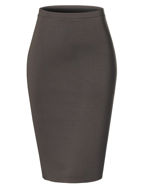 Womens Slim Fit Elastic Waist Mediumweight Ponte Pencil Midi Skirt with Stretch (WB4349)