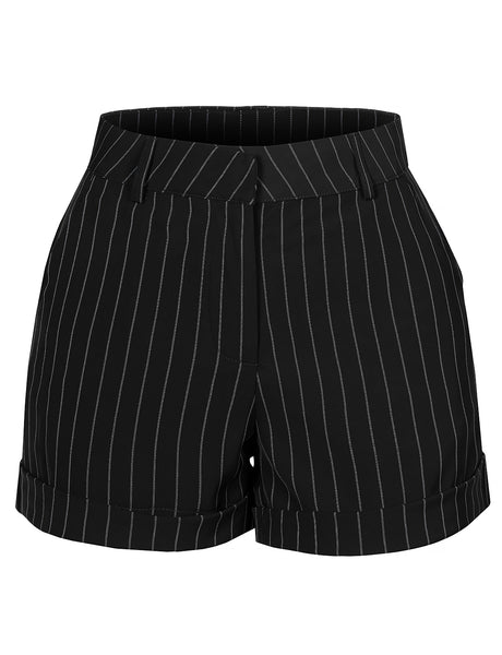 Womens Striped Rolled Cuffs Shorts with Pockets (WB4376)