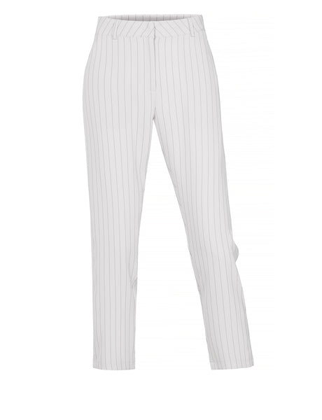 Womens Classic Work Office Pin Striped Straight Leg Full Length Pants (WB4377)
