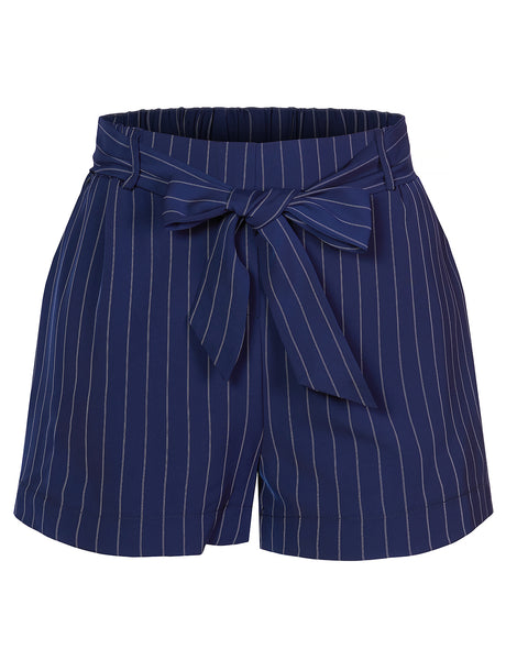 Womens Casual High Waist Pin Striped Shorts With Removable Self Tie Waist Belt (WB4379)