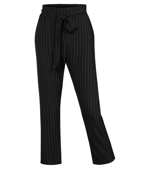 Womens Casual High Waist Pin Stripe Straight Legs Pants with Removable Self Tie (WB4380)