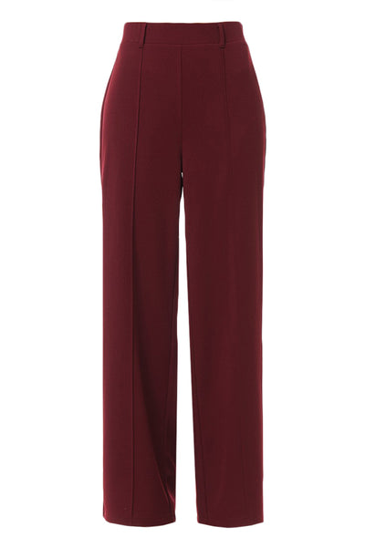 Womens Highwaisted Wide Leg Pintuck Ankle Length Pants (WB4395)