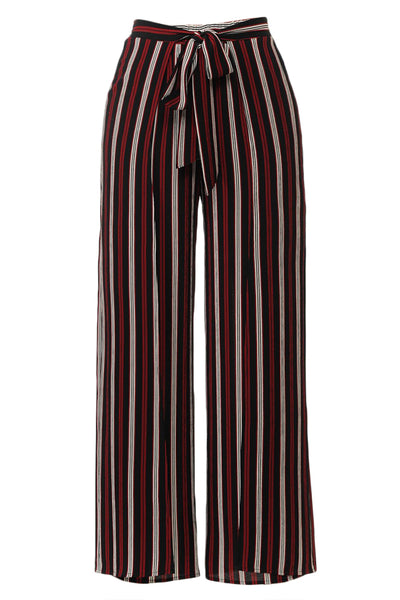 Womens Multi Stripe Side Slit Self Tie Palazzo Pants (WB4413)