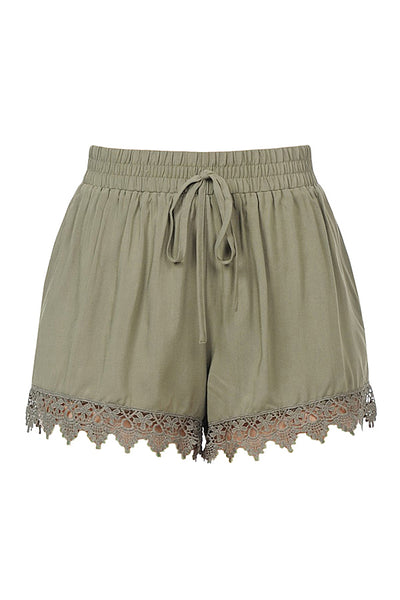 Womens Casual High Waisted Scalloped Lace Hem Shorts (WB4414)