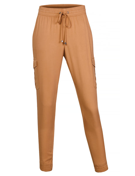 Womens Casual Lightweight Cargo Jogger Pants With Pockets (WB4423)