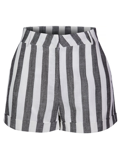 Womens Casual High Waist Striped Roll Up Linen Shorts (WB4425)