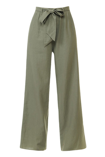 Womens Casual High Waisted Self Tie Wide Leg Linen Palazzo Pants (WB4533)