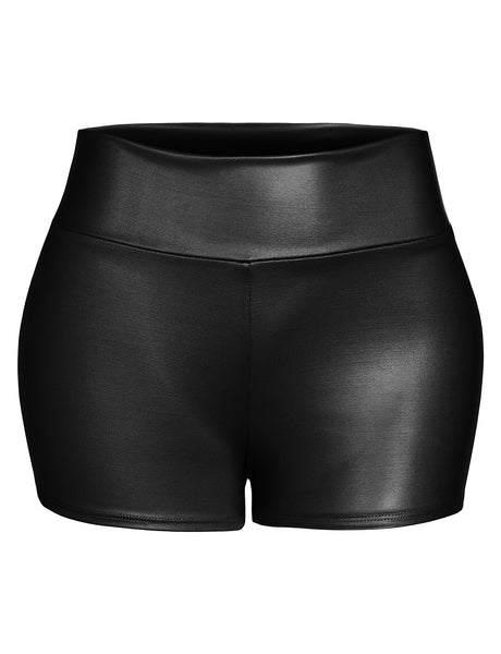 Womens Casual Faux Leather Wide Waist Band Mid Rise Shorts (WB4534)