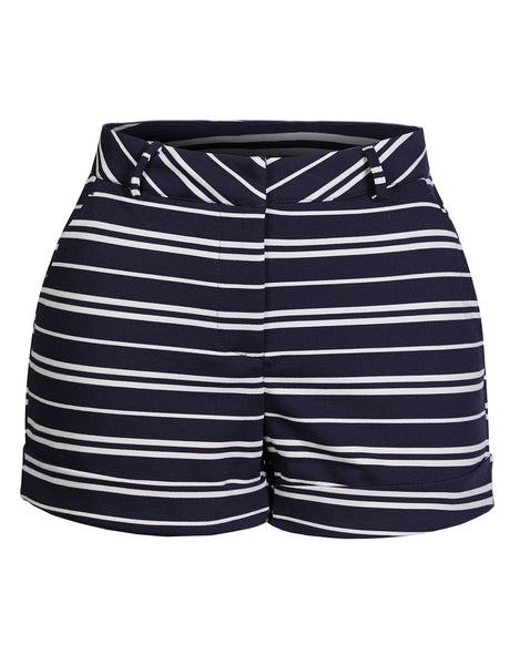 Womens Classic High Waist Striped Roll Up Shorts With Pockets (WB4538)