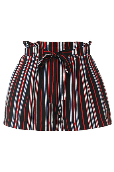 Womens Casual High Waist Multi Color Stripe Paper Bag Belted Shorts With Pockets (WB4550)