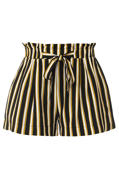 Womens Casual Multi Stripe Woven Paperbag Shorts (WB4554)