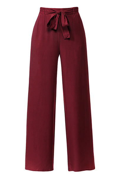 Womens High Waisted Elastic Waist Front Belt Tie Palazzo Pants (WB4566)