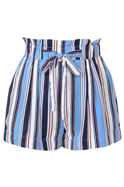 Womens Casual High Waist Multi Stripe Woven Paper Bag Belted Shorts (WB4567)
