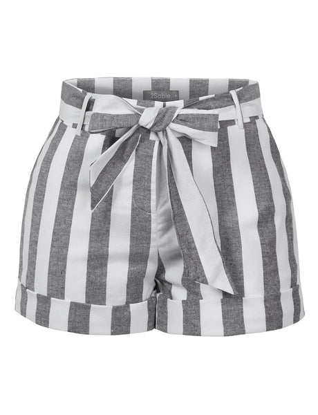Womens Casual Cotton Blend Striped Shorts With Roll Up Hem And Self Tie Belt (WB4586)