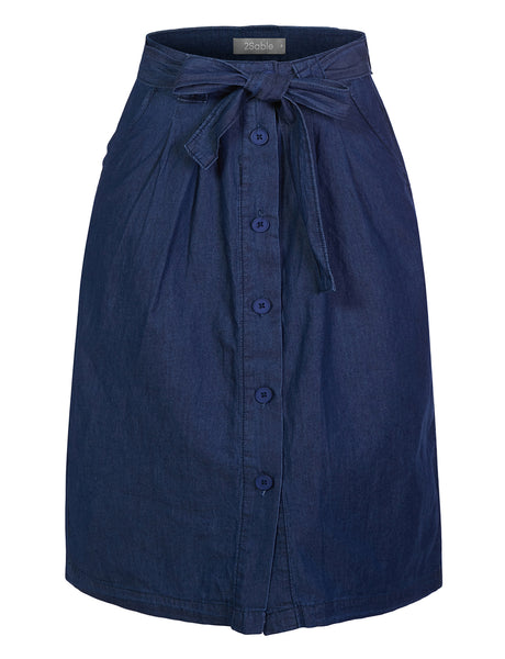 Womens Casual Cotten Blend Denim Button Up Midi Skirt With Pockets (WB4612)