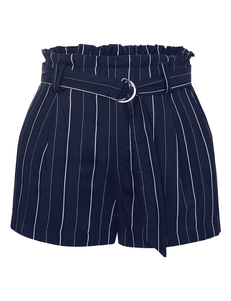Womens Striped High Waisted Paperbag Belted Short Pants with Pockets (WB4636)