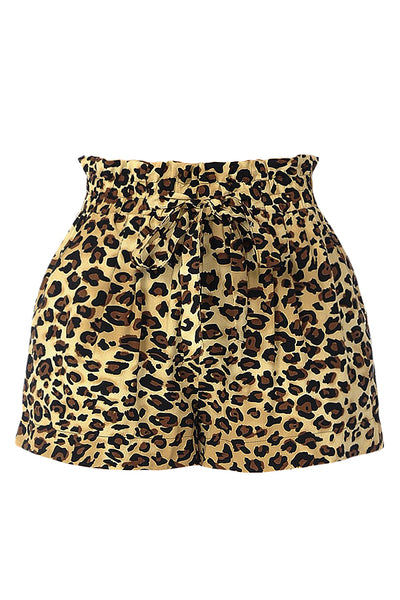 Womens Casual High Waist Leopard Print Paper Bag Belted Shorts With Pockets (WB4640)
