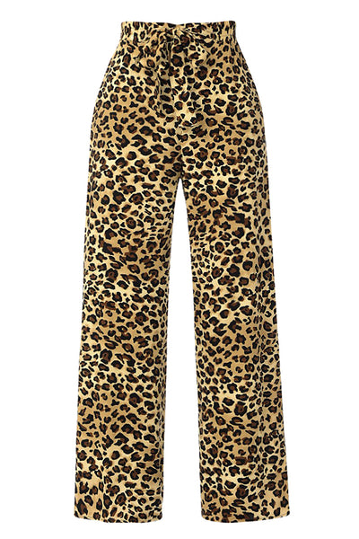 Womens High Waisted Leopard Print Wide Leg Palazzo Pants with Front Self Tie (WB4641)