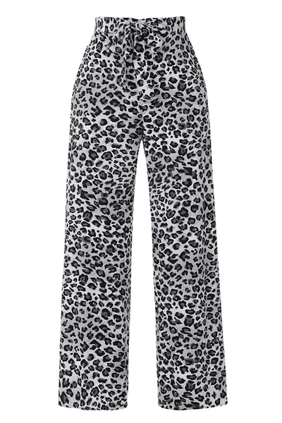 Womens Plus Size High Waisted Leopard Print Wide Leg Palazzo Pants with Front Self Tie (WB4641P)