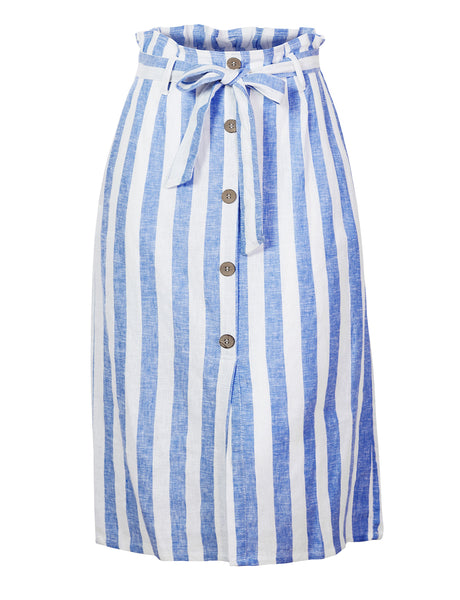 Womens Linen Stripe High Waisted A-Line Midi Skirt With Self Tie Belt (WB4645)