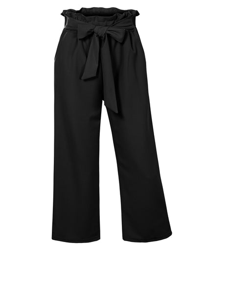 Womens Casual High Wasted Straight Leg Cropped Paperbag Pants with Self Tie Belt (WB4648)