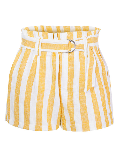 Womens Casual Linen Striped High Waisted Paperbag Belted Shorts with Pockets (WB4650)