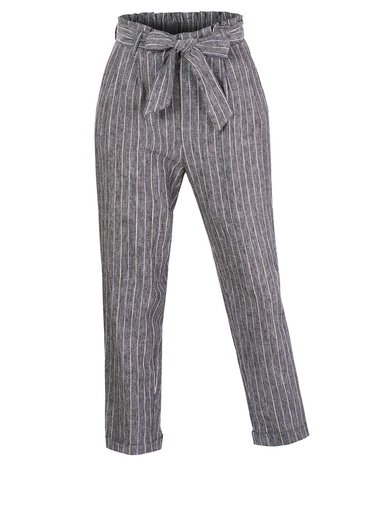 5f29fb46c Womens High Waisted Linen Blend Striped Paper Bag Belted Trouser Pants  (WB4681). BLACK ...