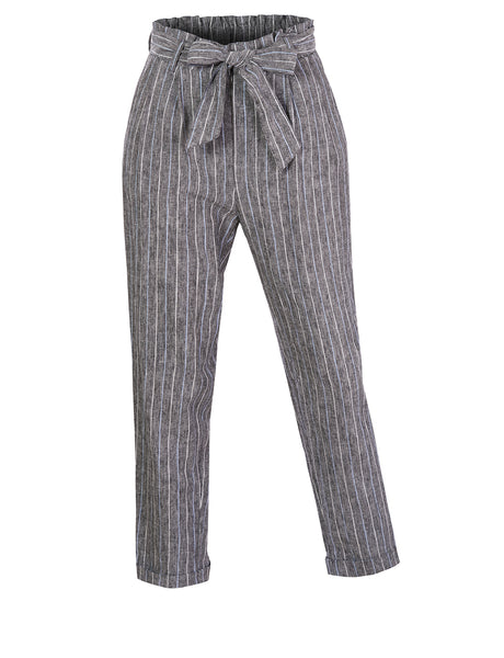 Womens High Waisted Linen Blend Striped Paper Bag Belted Trouser Pants (WB4681)